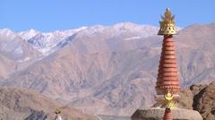 Buddhist Stupas in Himalayas Stock Footage