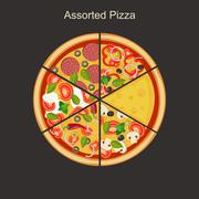 Assorted pizza - stock illustration
