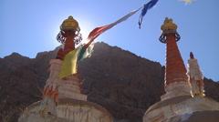 Buddhist Stupas and Prayer Flags in Himalaya Stock Footage