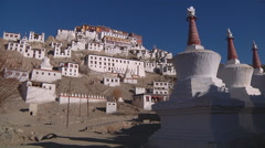 Buddhist Monastery of Thiksey in Indian Tibet Stock Footage