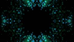 seamless background of blue and green particles in kaleidoscopic style (FULL HD) - stock footage