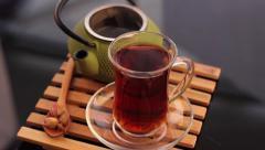 Turkish tea and green teapot Stock Footage
