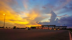 Plaza toll time-lapse during sunset. Stock Footage