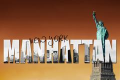 Manhattan skyline concept with Statue of liberty - stock illustration