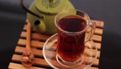 Turkish tea and teapot Stock Footage