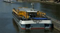 Valentyna II riverboat anchored next to Štvanice Island on Vltava River, Prague Stock Footage