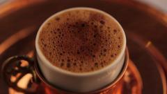 Turkish Coffee on traditional plate and cup Stock Footage