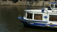 Bohemia riverboat floating in Prague Stock Footage