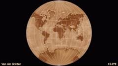 Animated world map in the Van der Grinten projection. Gradient. Stock Footage