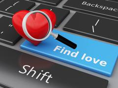 3d Computer keyboard with Love button and heart. Stock Illustration
