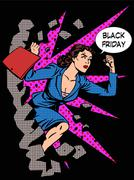 Black Friday woman buyer runs on sale - stock illustration
