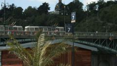 Tram passing on Čechův most, Prague Stock Footage