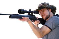 Smart shooter aiming telescopic rifle - stock photo