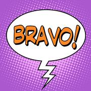 The word Bravo in a comic bubble - stock illustration