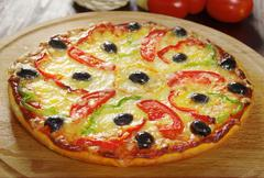 Home pizza m paprika Stock Photos