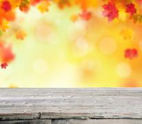 Abstract blur autumn background with wood Stock Photos