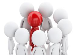 3d Group of persons and red leader. Stock Illustration