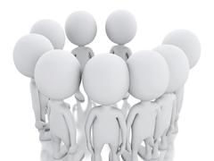 3d white person, joining a group of people in a circle. - stock illustration