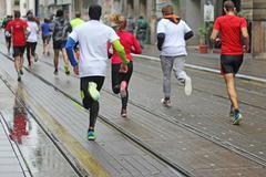 Marathon running Stock Photos