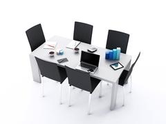 3d Office meeting room with office accessories. Stock Illustration