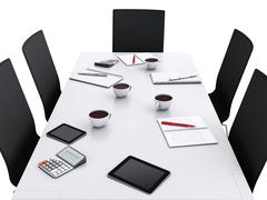 3d Office meeting room with office accessories. - stock illustration