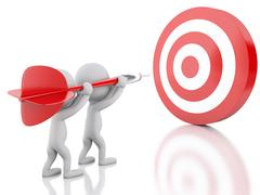 3d White person with dart and target. Success in business. - stock illustration
