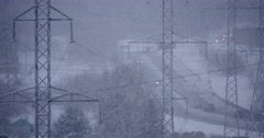 4K Natural Disaster Snowfall in Industrial Energy Area - stock footage