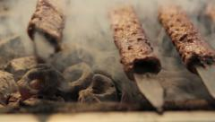 Barbecue grilling shish kebab Stock Footage