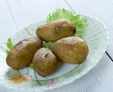 Canarian wrinkly potatoes Stock Photos