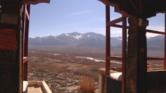 Leh Town Viewed From Spituk Monastery, India Stock Footage
