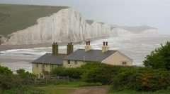 Beautiful houses along the shore of the White Cliffs of Dover at Beachy Head, Stock Footage