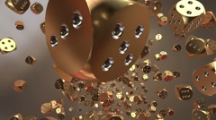Falling dice in gold Stock Footage