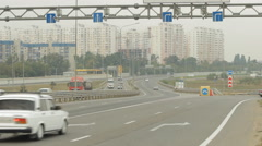 Highway traffic in the morning, video surveillance for traffic, side view, city  Stock Footage