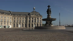 The Fountain of the Three Graces in Bordeaux Stock Footage