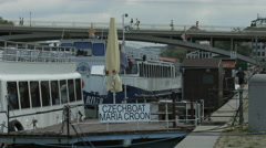 Stock Video Footage of Wooden pontoon to Maria Croon Czech Boat in Prague