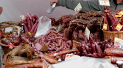 Open air food market. Sausage and meats 2 Stock Footage