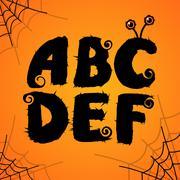 Vector halloween scary colorful alphabet - stock illustration