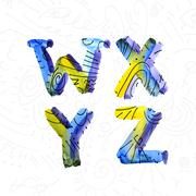 Wector watercolor hand-draw colorful alphabet - stock illustration