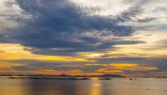 Sunset sky at Si Chang island, 4K UHD time lapse with digital zoom out Stock Footage