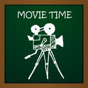 Vector chalk draw old movie camera. Eps10 - stock illustration