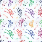 Vector hand draw robot on exersize book. Eps10 Stock Illustration