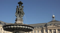 He Fountain of the Three Graces in Bordeaux Stock Footage