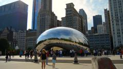 Timelapse at the Cloud Gate Sculpture in Millennium Park in Chicago Stock Footage