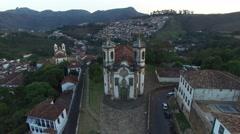 Aerial View of  Igreja de Sao Francisco de Assis in Ouro Preto, Minas Gerais, Br Stock Footage