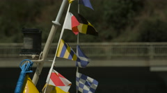 Small nautical flags in line on a boat, Prague Stock Footage