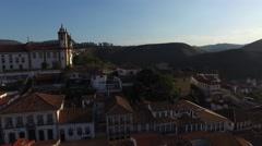 Flying Over Praca Tiradentes Square, Ouro Preto, Minas Gerais Brazil Stock Footage