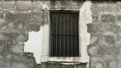 Old Prison Window Gate with Brick Wall Historic, 4K Stock Footage