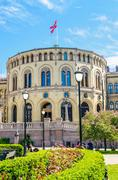 Stortinget, Parliament of Norway Oslo in beautiful spring day - stock photo