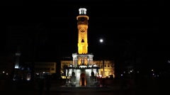 Izmir clock tower, city center. 6 different angle montage Stock Footage