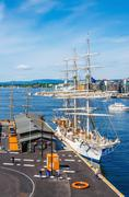 Beautiful white sailing ship in Oslo Fjord, Norway - stock photo